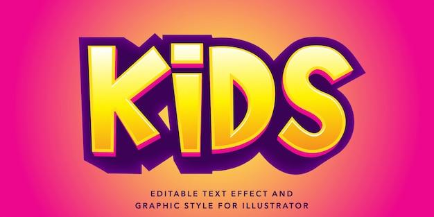 Effetto di testo modificabile per lo stile del testo per bambini