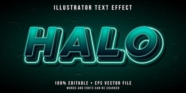Effetto di testo modificabile - stile alone luminoso al neon