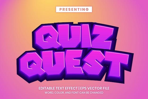 Effetto di testo modificabile - stile del titolo del logo del gioco di ricerca quiz