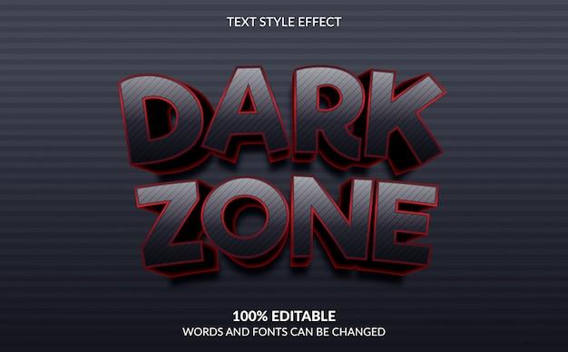 Effetto di testo modificabile, stile di testo di gioco della zona scura