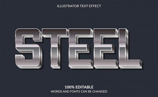Effetto di testo modificabile, stile di testo moderno in acciaio grassetto
