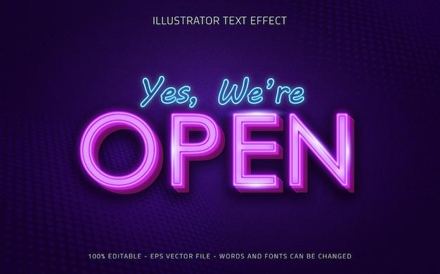 Effetto di testo modificabile, stile neon aperto