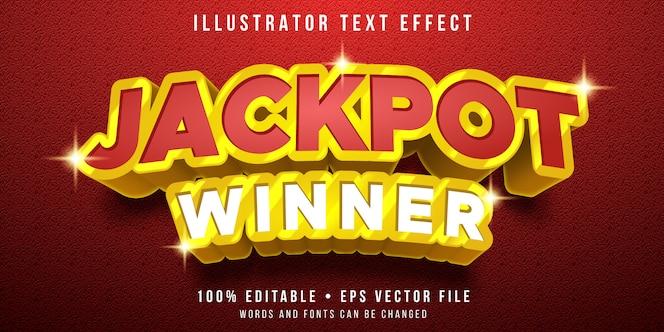 Effetto di testo modificabile - stile premio jackpot