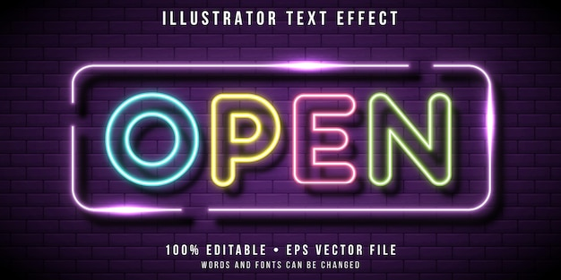 Effetto di testo modificabile - stile segnaletica luci al neon