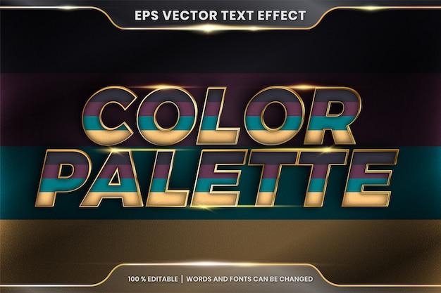 Effetto di testo nelle parole della tavolozza dei colori 3d, pastello colorato modificabile del tema dell'effetto di testo con il concetto di colore dell'oro del metallo