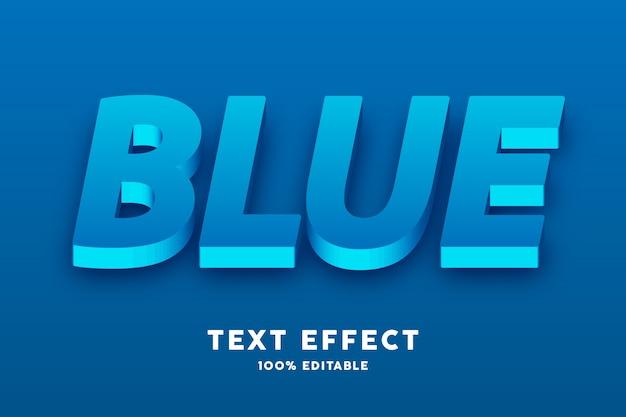 Effetto di testo realistico blu fresco 3d