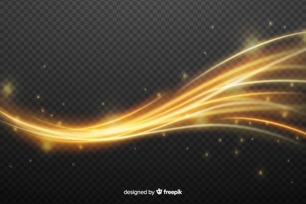 Effetto dorato dell'onda di luce senza sfondo