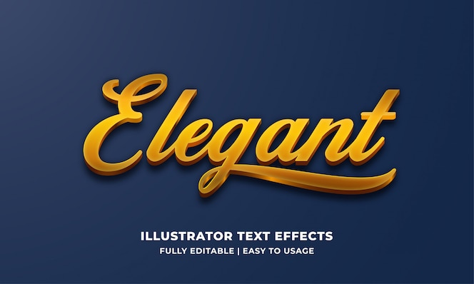 Effetto elegante di stile del testo 3d dell'oro