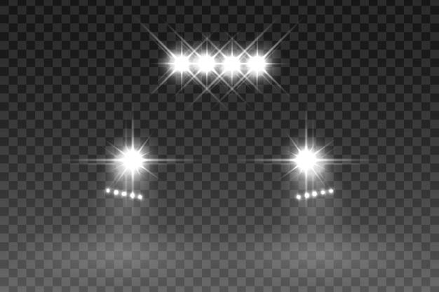 Effetto flash luce auto su sfondo trasparente. illustrazione vettoriale