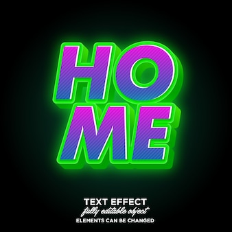 Effetto font 3d moderno con luce verde