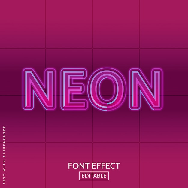 Effetto font al neon di testo retrò