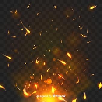 Effetto fuoco luccicante con sfondo trasparente