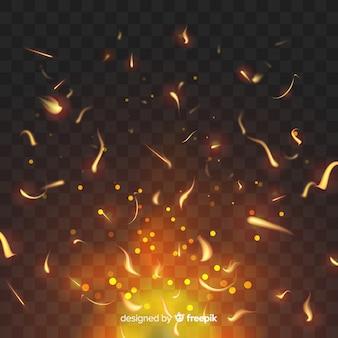 Effetto fuoco luccicante su sfondo trasparente