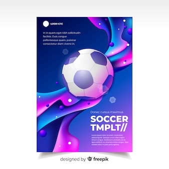 Effetto liquido del modello poster di calcio