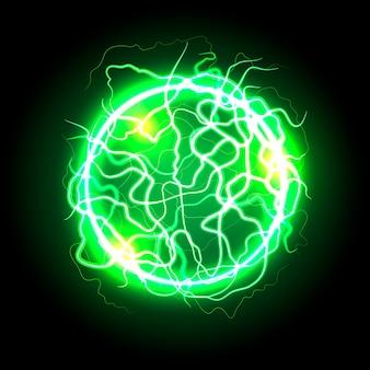 Effetto luce a sfera elettrica verde