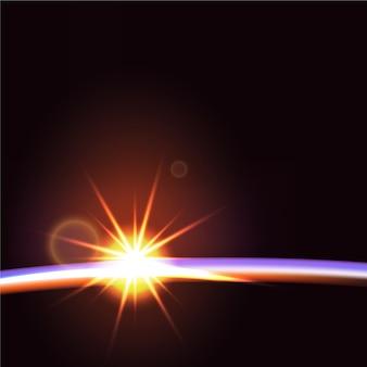 Effetto luce alba della terra