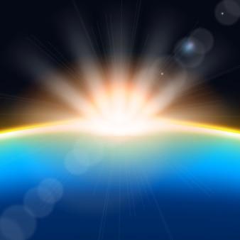 Effetto luce alba splendente terra