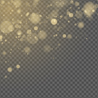 Effetto luce astratta. bokeh giallo isolato su sfondo trasparente. bagliore dorato. luccica d'oro. macchie sfocate casuali.