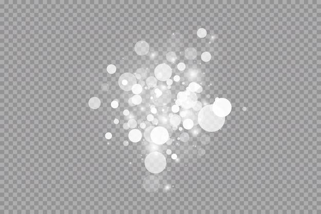 Effetto luce bagliore. illustrazione vettoriale polvere di natale flash. scintille bianche e glitter effetto luce speciale.