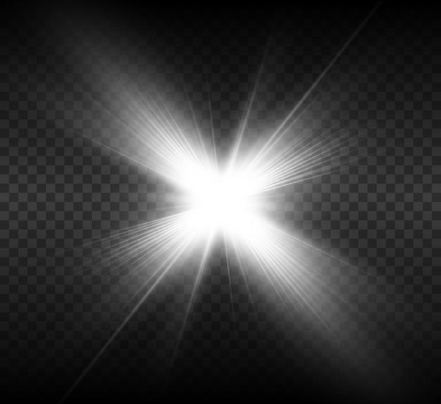 Effetto luce bagliore. la stella è esplosa di scintillii. illustrazione