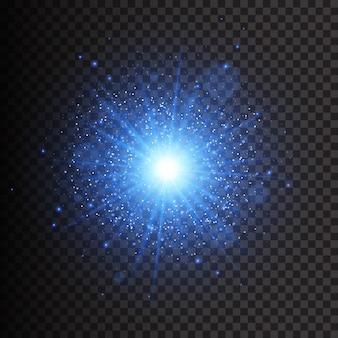Effetto luce bagliore. la stella è scoppiata di scintillii. luci dorate