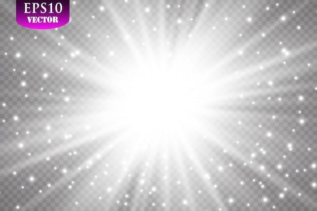 Effetto luce bagliore. starburst con scintillii su sfondo trasparente. illustrazione. sole, eps 10