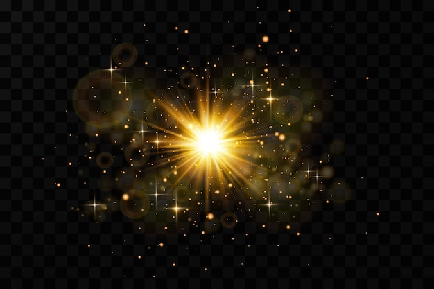 Effetto luce bagliore. starburst con sfondo di scintillii.