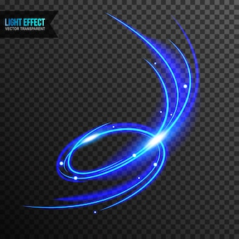 Effetto luce blu vettoriale trasparente con ricciolo di linea