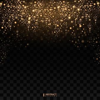 Effetto luce christmas glow. la stella è scoppiata di scintillii. luci dorate. la polvere di stelle scintillanti d'oro scia particelle scintillanti su sfondo trasparente