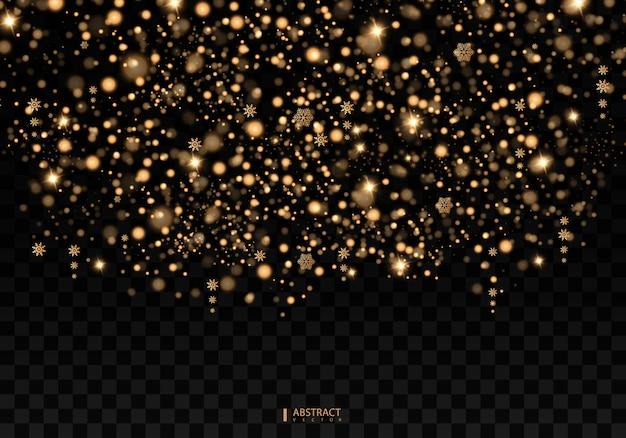 Effetto luce christmas glow. la stella è scoppiata di scintillii. luci dorate. la polvere di stelle scintillanti d'oro scia particelle scintillanti
