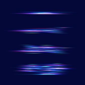 Effetto luce di movimento per banner. linee blu. l'effetto della velocità su un blu. linee rosse di luce, velocità e movimento. riflesso lente vettoriale.