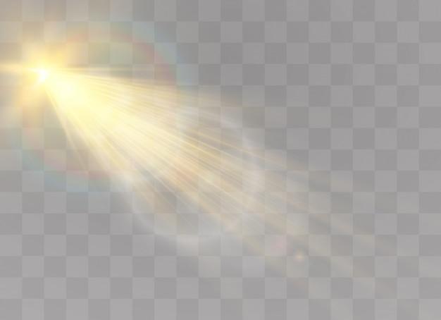 Effetto luce flash con lente speciale per la luce solare trasparente. sfocatura alla luce della radiosità.