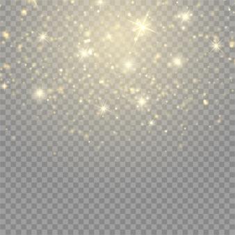 Effetto luce incandescente. nuvola stellata di vettore con polvere. magica decorazione natalizia