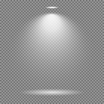 Effetto luce su sfondo trasparente. accumulazione luminosa di vettore delle luci