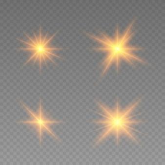Effetto luci incandescenti. la stella è scoppiata di scintillii. disegno astratto dell'elemento di effetto speciale. raggio luminoso con lampo, tondo scintillante