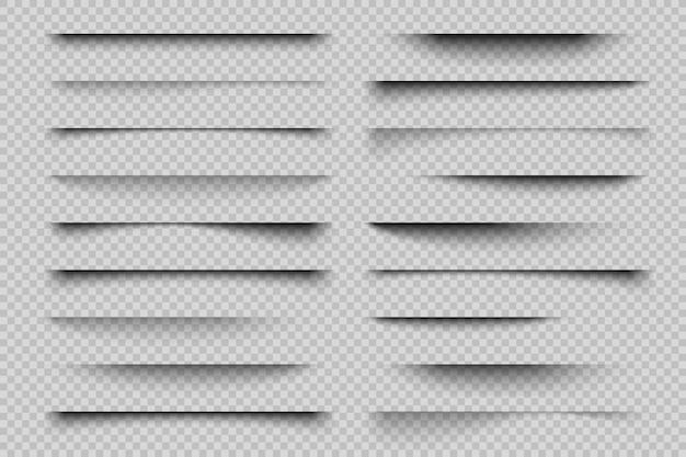Effetto ombra carta. ombre di sovrapposizione trasparenti realistiche, ombra di banner poster flyer biglietto da visita. elementi divisori linee