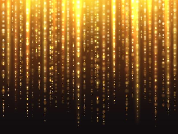 Effetto scintillante d'oro scintillante con lo sfondo di particelle luminose che cadono