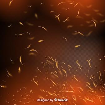 Effetto scintille di fuoco con sfondo trasparente