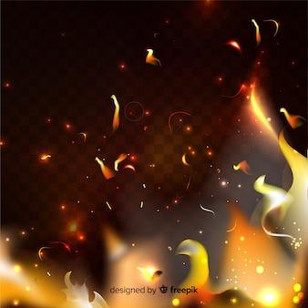 Effetto scintille di fuoco su sfondo trasparente