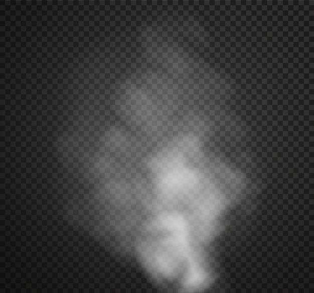 Effetto speciale trasparente isolato fumo o nebbia. nuvolosità bianca