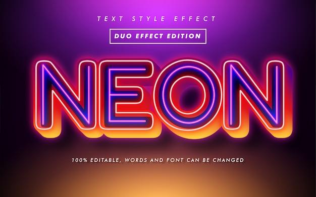 Effetto stile grassetto moderno al neon