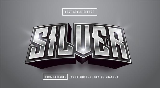 Effetto stile testo argento scuro modificabile