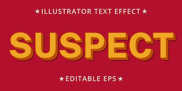 Effetto stile testo modificabile sospetto di illustrator