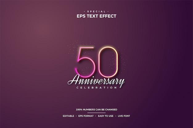 Effetto stile testo modificabile, sottile celebrazione del 50 ° compleanno.
