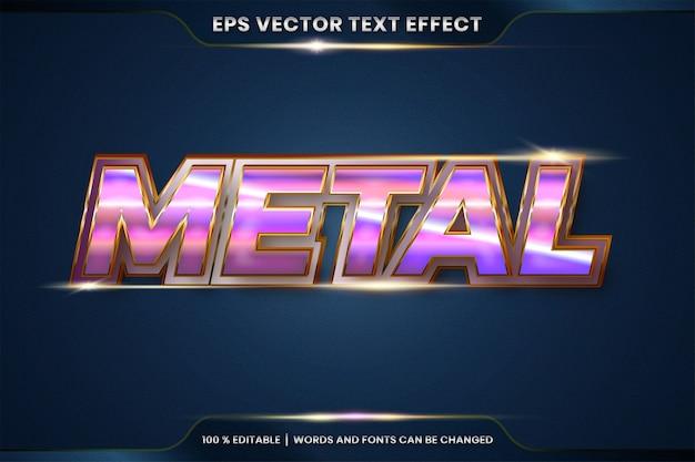 Effetto testo effetto modificabile in metallo realistico argento oro e combinazione di colori viola con concetto di luce bagliore