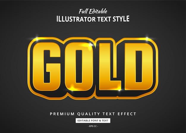 Effetto testo oro dei cartoni animati