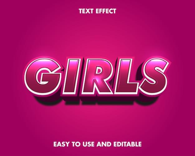 Effetto testo ragazze. effetto carattere modificabile.