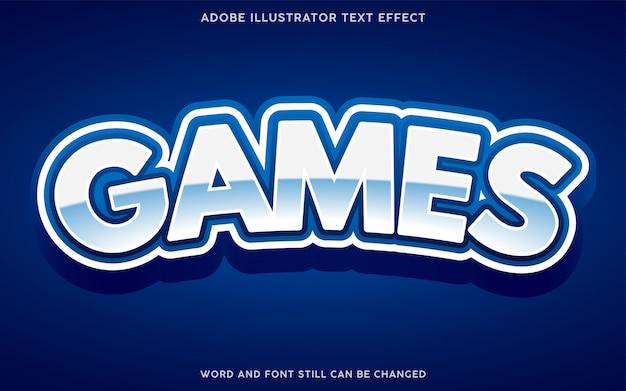 Effetto testo stile giochi con colore bianco e blu