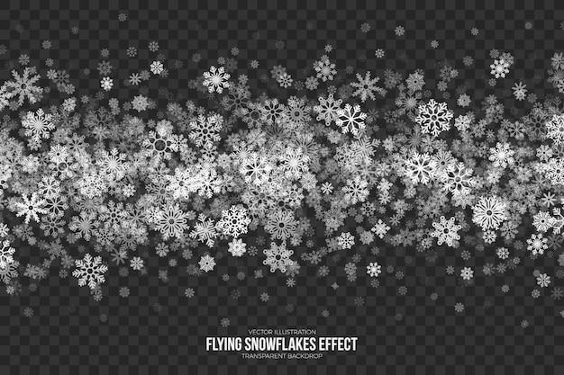 Effetto trasparente di fiocchi di neve volanti