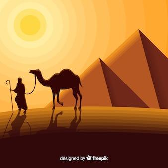 Egitto paesaggio concetto con piramidi e caravan
